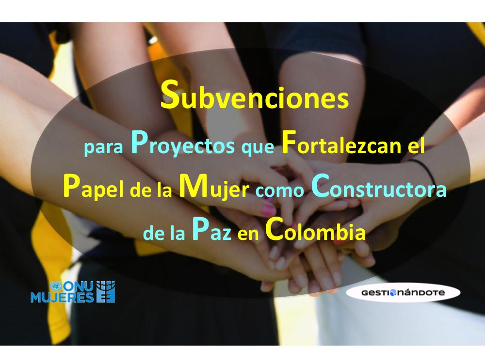 ONU Mujeres otorgará subvenciones para proyectos que fortalezcan el papel de la mujer como constructora de la paz en Colombia