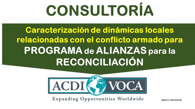 Contratación de consultoría para diagnósticos locales en reconciliación – PAR