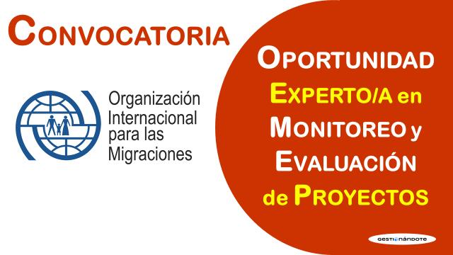 OIM busca experto/a en monitoreo y evaluación de proyectos en Colombia