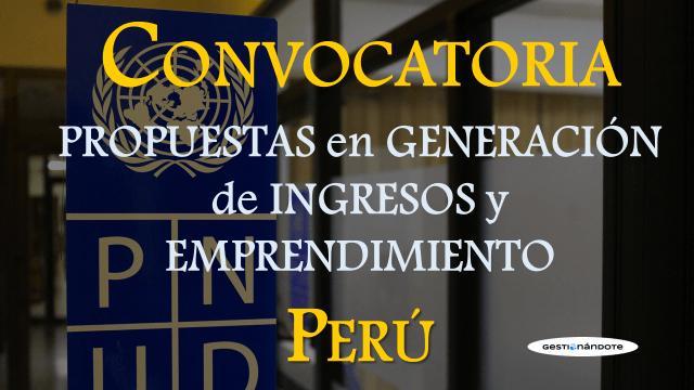 Convocatoria de propuestas de PNUD Perú en generación de ingresos y emprendimiento