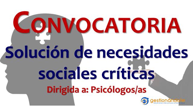 Convocatoria para profesionales en psicología en áreas sociales críticas