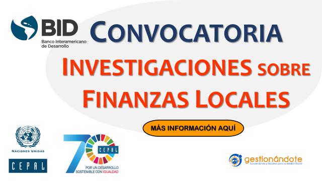 Convocatoria para investigaciones en finanzas locales – BID – CEPAL