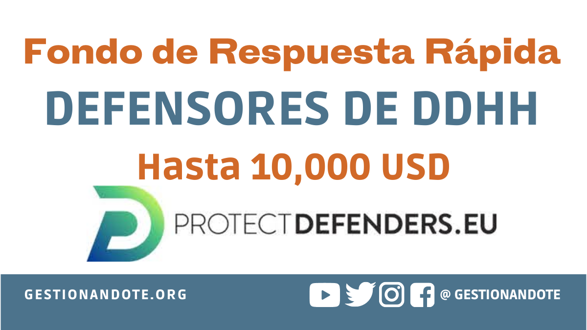 Financiamiento rápido a defensores de DDHH –